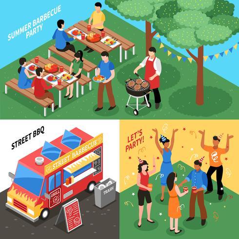Concetto di design isometrica Barbecue