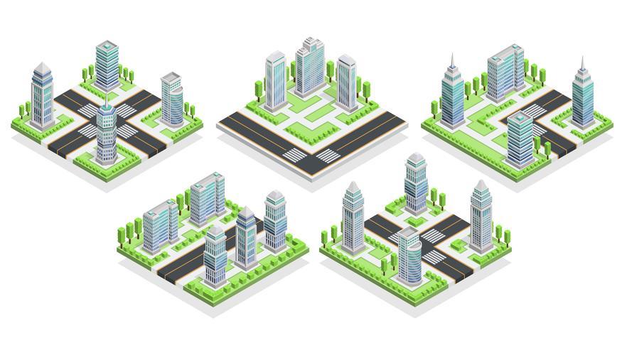 Ciudad casas composición isométrica