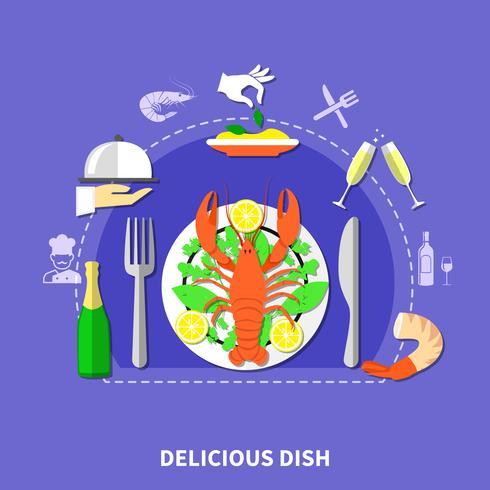 Delicious Restaurant Food Composition vector