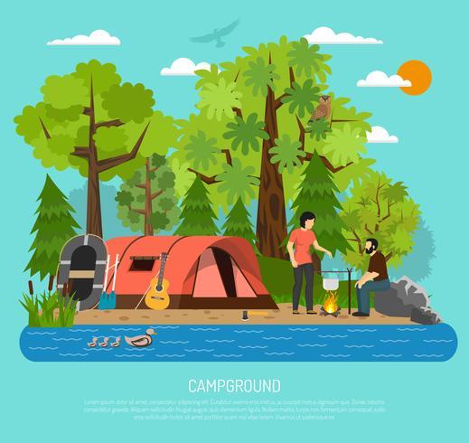 Cartel de la carpa del verano de la familia de la recreación del camping