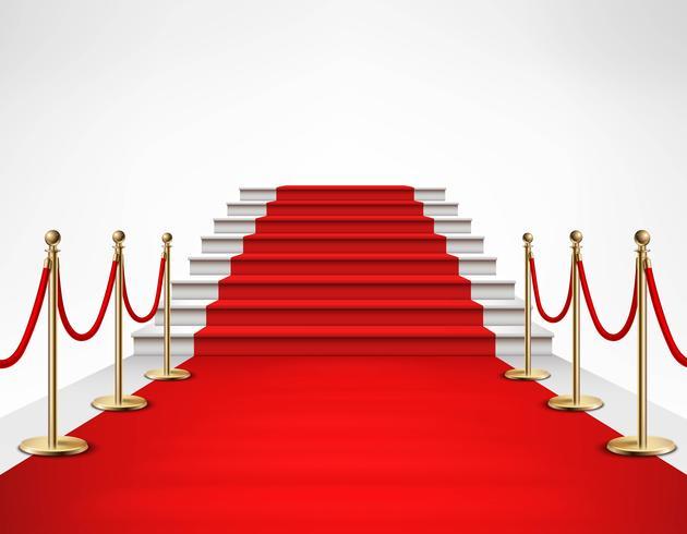 Alfombra roja Escaleras blancas Ilustración realista vector