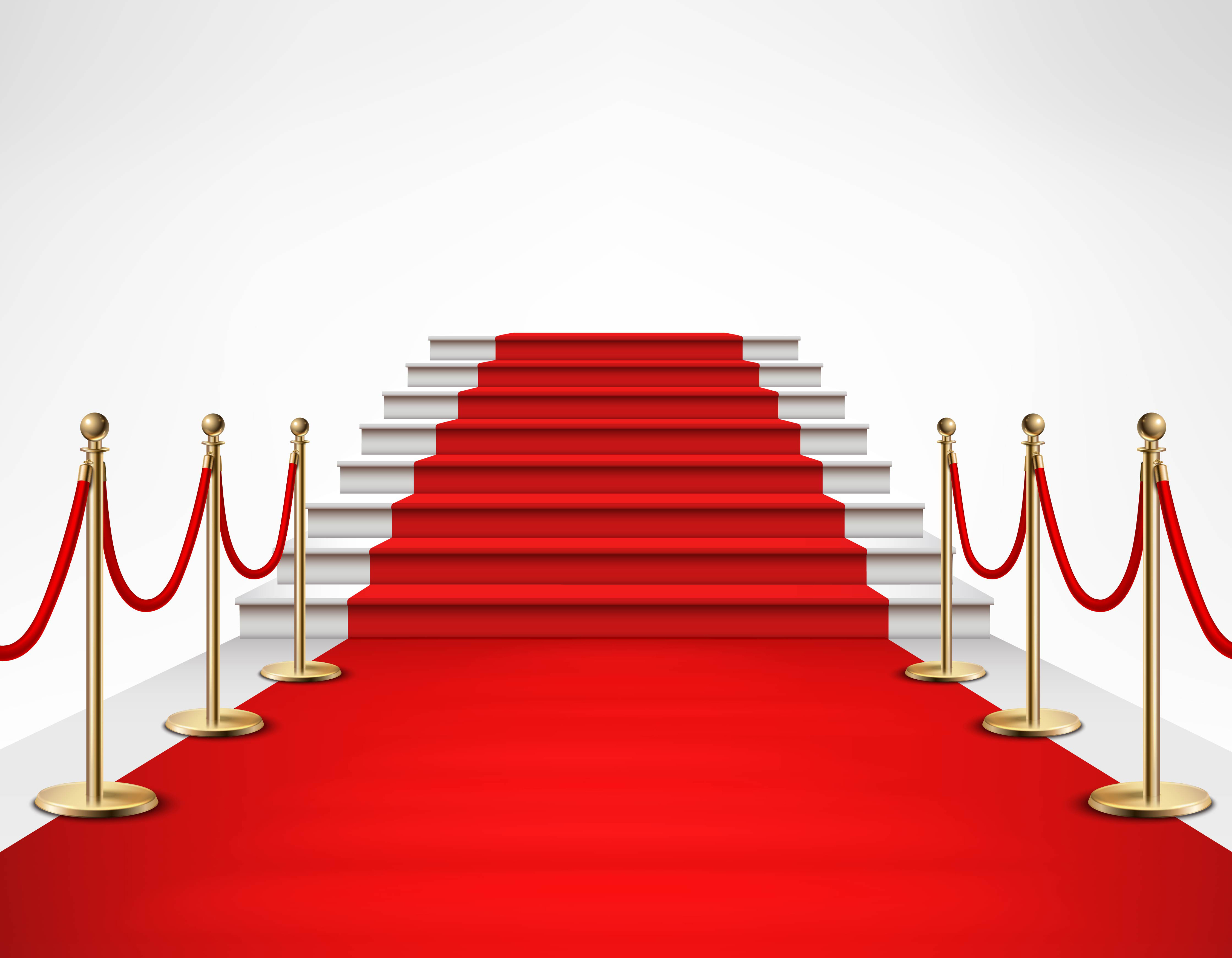 Red Carpet White Stairs Realistic Illustration Download