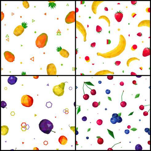 Frutas poligonais 4 ícones de padrões sem emenda