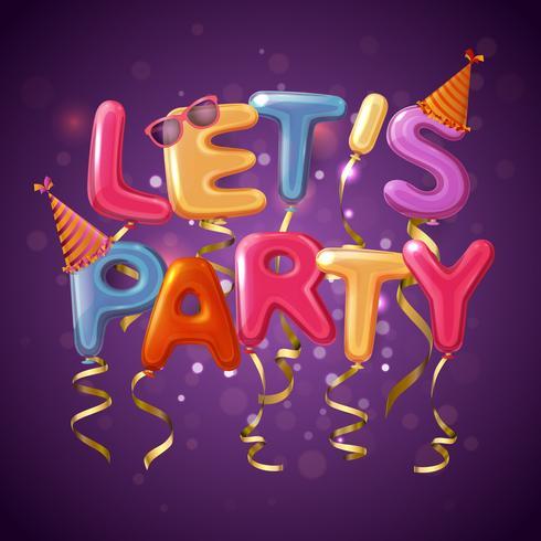 party ballong bokstäver bakgrund vektor