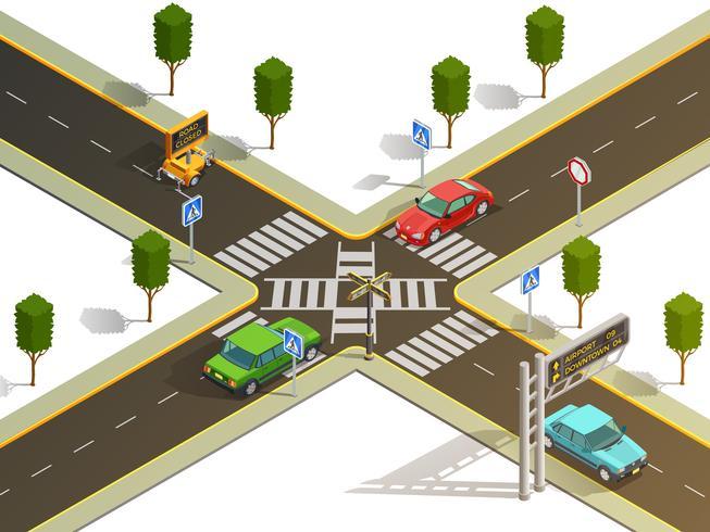 Vista isométrica de la navegación del tráfico de la intersección de la ciudad vector