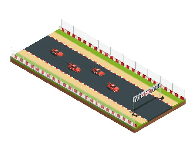 Isometric Race Track Composition vector