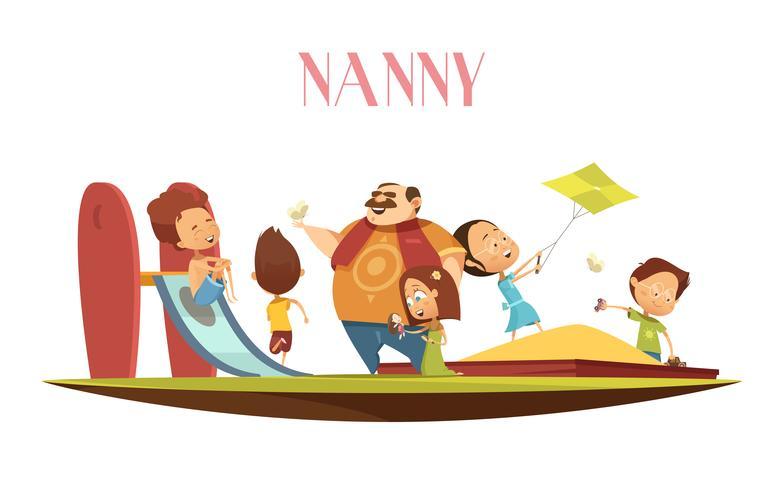 Man Barnpassare Med Barn Cartoon Illustration
