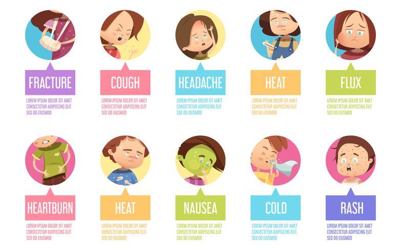 Cartoon ziekte kind Icon Set