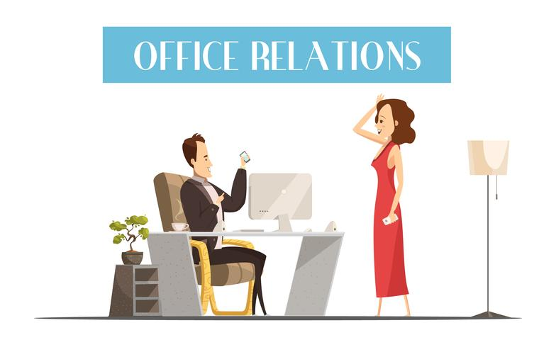 Office Relations Cartoon Style Design