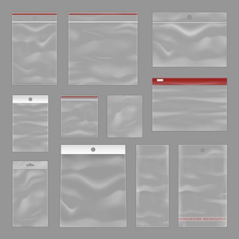 rena transparenta zip-väskor realistiska set vektor