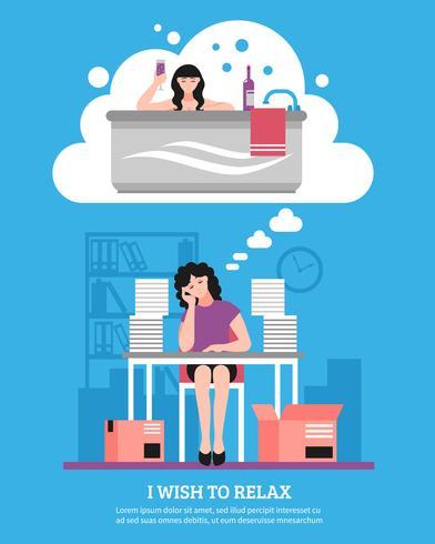 Vrouw die vlakke illustratie wenst te ontspannen