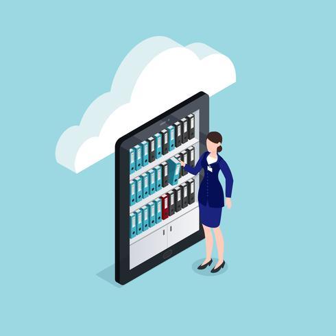 isometrisches Design für Cloud-Dokumentenspeicherung