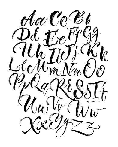 Letras garabateadas negras en mayúsculas y minúsculas
