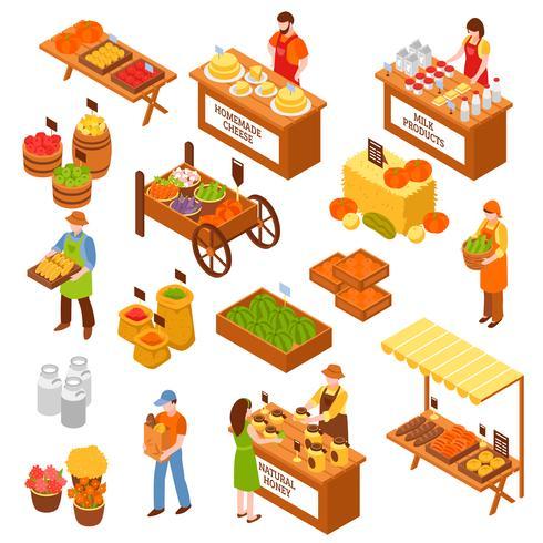 Conjunto isométrico del mercado de agricultores vector