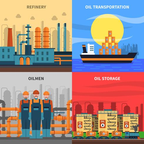 Conjunto de iconos de concepto de aceite vector