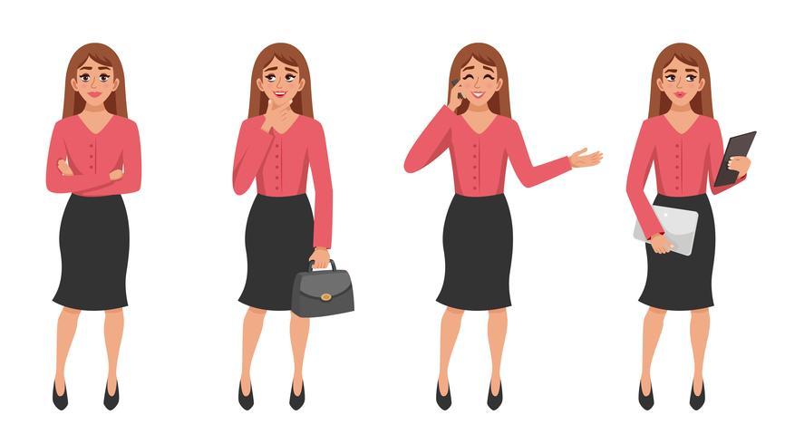Set di gesti di donna dei cartoni animati