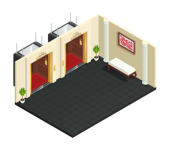 Elevador Lobby Interior Isométrico