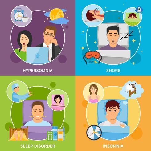 Conjunto de composiciones de trastornos del sueño vector