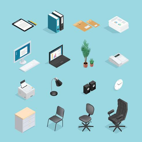 Office Supplies Isometric Icon Set vector