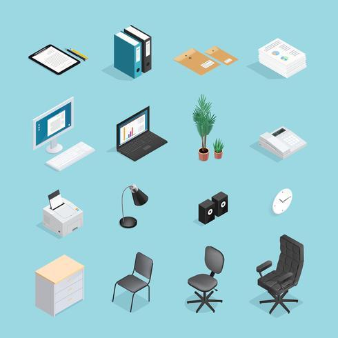 Conjunto de iconos isométricos de suministros de oficina