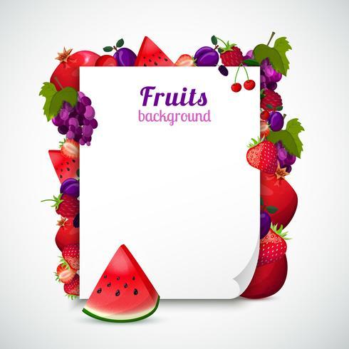 Feuille de papier décorée de fruits