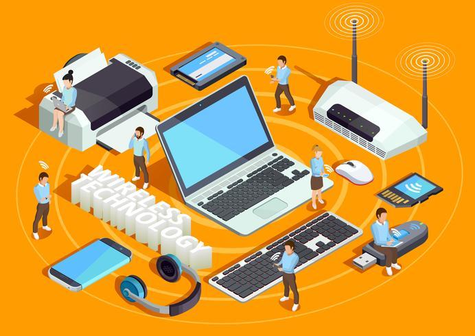 Poster di composizione isometrica tecnologia wireless