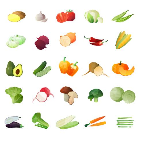 Polygonal Vegetables Icon Set vector