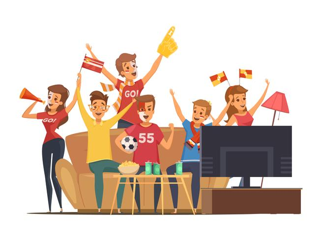 Sportfans kijken naar tv-compositie