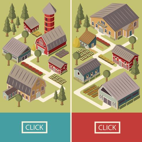 Farm Isometric Banners vector