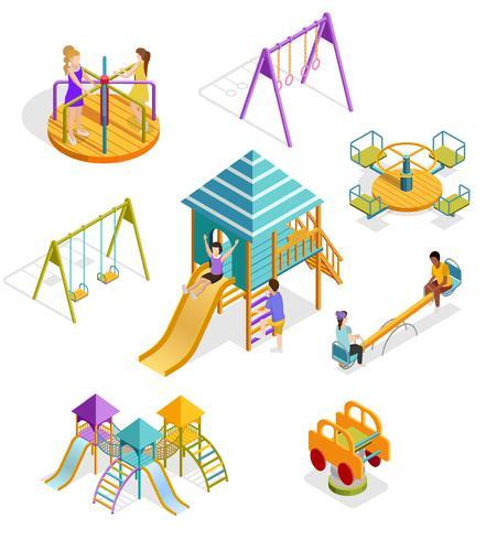 Isometrische swingende kinderen Icon Set vector