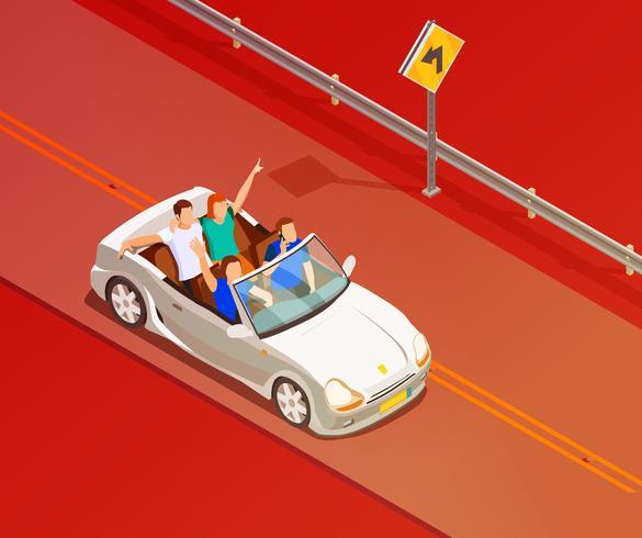 Vänner som rider lyxbilen isometrisk affisch