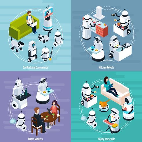 Conceito de projeto isométrico home dos robôs 2x2