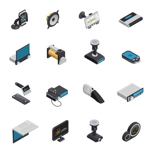 Ícones isométricos de eletrônica de carro vetor