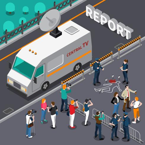Reportage From Murder Scene Isometric Illustration vector