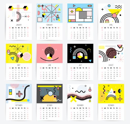 Calendario in stile Memphis vettore