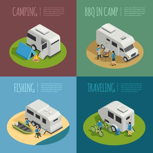 Conjunto de iconos de concepto de vehículos recreativos vector