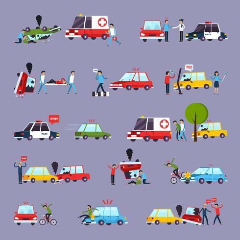 Road Accident Icons Set vector