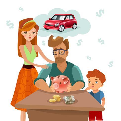Familiebudget Financiën Plan vlakke poster vector