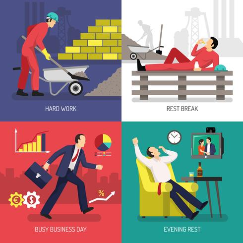 Tired Worker Design Concept vector