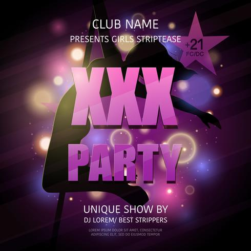 Strip Club Party Poster  vector