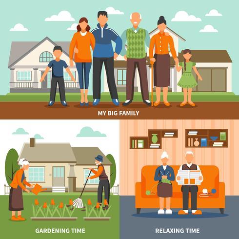 Senior People Activities Composition vector