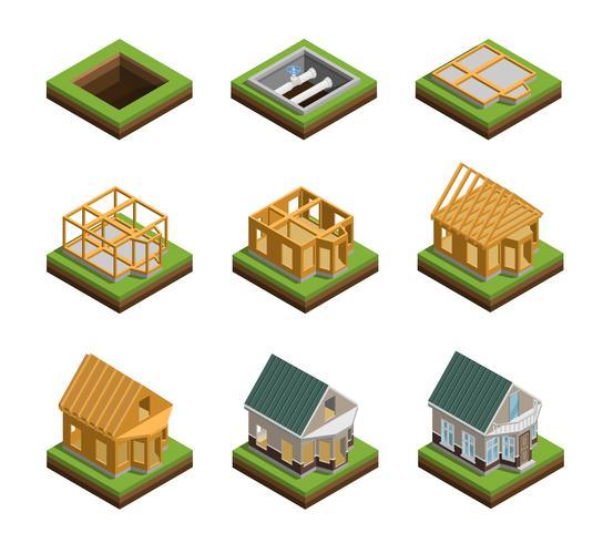 Conjunto de iconos de construcción de casa