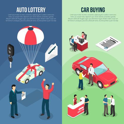 Concesionario de coches de arrendamiento de banner vertical conjunto