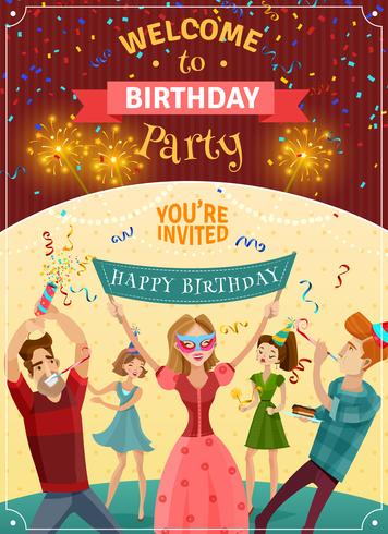 Birthday Party Announcement Invitation Poster  vector