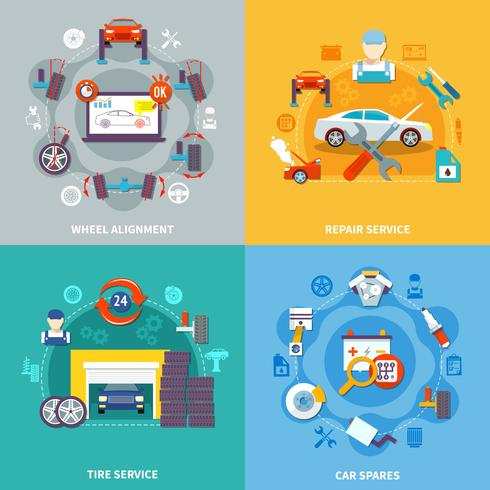 concepto de diseño de auto servicio 2x2