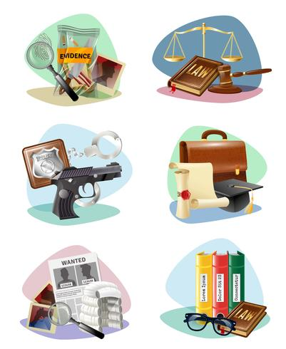 Law Justice Symbols Attributes Icons Collection