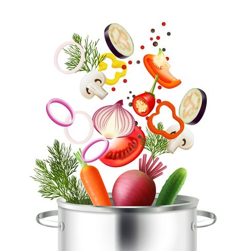 Concepto de verduras y olla vector
