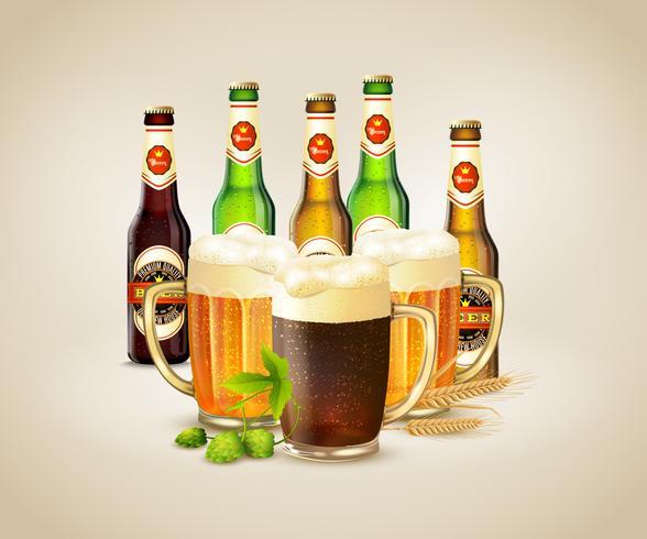 Fondo de cerveza realista vector