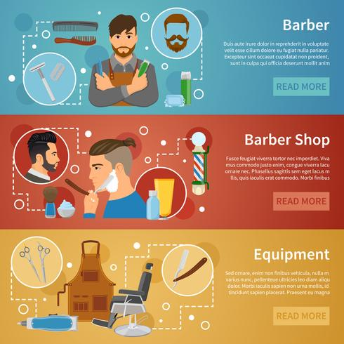 Banner di Barber Shop Set Flat Style vettore