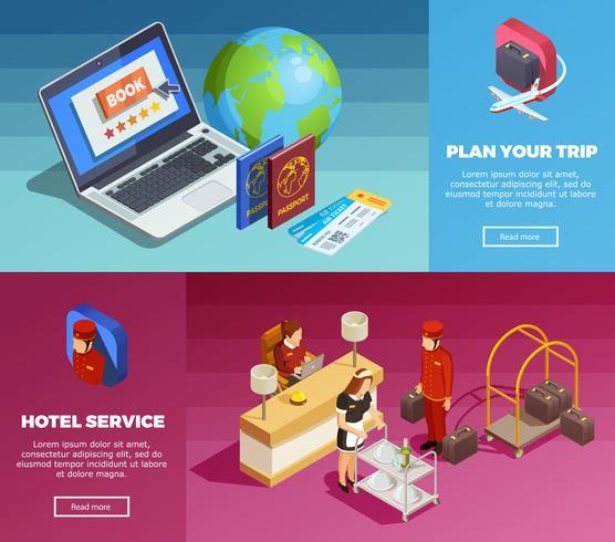 Banners de páginas web isométricas de servicio de hotel 2 vector